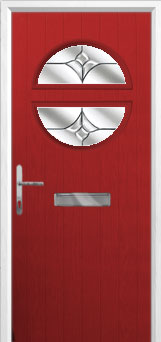 Circle Crystal Tulip Composite Front Door in Red