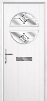 Circle Crystal Tulip Composite Front Door in White