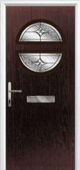 Circle Elegance Composite Front Door in Darkwood