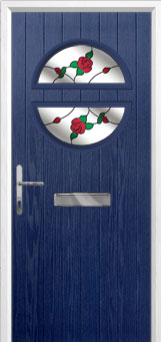 Circle English Rose Composite Front Door in Blue