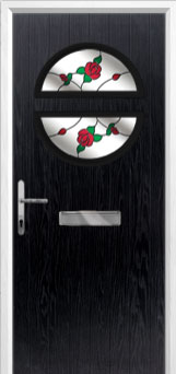 Circle English Rose Composite Front Door in Black