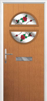 Circle English Rose Composite Front Door in Oak