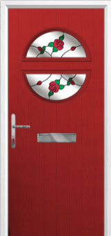 Circle English Rose Composite Front Door in Red