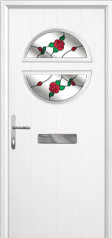Circle English Rose Composite Front Door in White