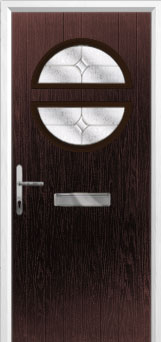 Circle Flair Composite Front Door in Darkwood