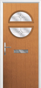 Circle Flair Composite Front Door in Oak