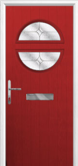 Circle Flair Composite Front Door in Red