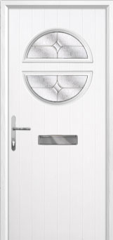Circle Flair Composite Front Door in White