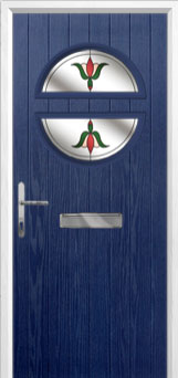 Circle Fleur Composite Front Door in Blue