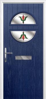 Circle Fleur Composite Front Door in Blue