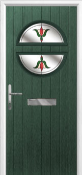 Circle Fleur Composite Front Door in Green