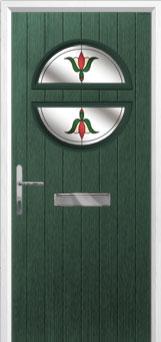 Circle Fleur Composite Front Door in Green