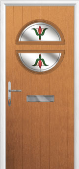Circle Fleur Composite Front Door in Oak