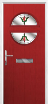 Circle Fleur Composite Front Door in Red