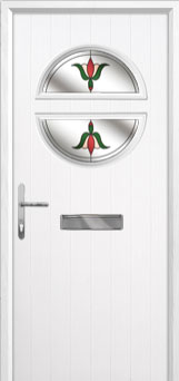 Circle Fleur Composite Front Door in White