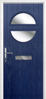 Circle Glazed Composite Front Door in Blue