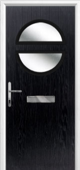 Circle Glazed Composite Front Door in Black