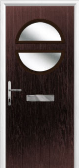 Circle Glazed Composite Front Door in Darkwood