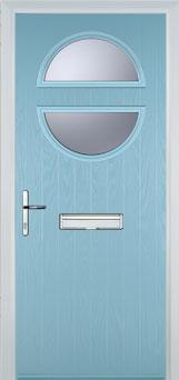 Circle Glazed Composite Front Door in Duck Egg Blue
