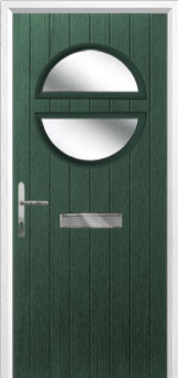 Circle Glazed Composite Front Door in Green