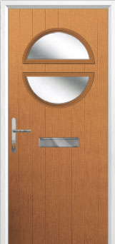 Circle Glazed Composite Front Door in Oak
