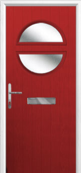 Circle Glazed Composite Front Door in Red