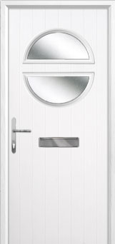 Circle Glazed Composite Front Door in White