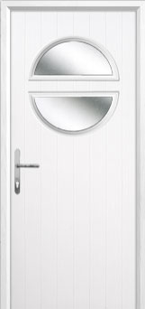 Circle Glazed Composite Back Door in White
