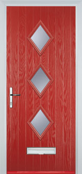 Diamond 3 Composite Front Door in Red