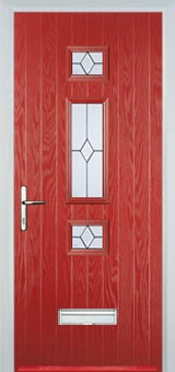 Mid 3 Square Classic Composite Front Door in Red
