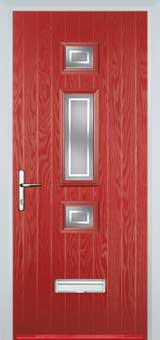 Mid 3 Square Enfield Composite Front Door in Red