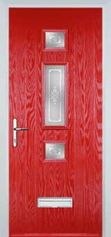 Mid 3 Square Staxton Timber Solid Core Door in Poppy Red
