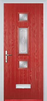 Mid 3 Square Staxton Composite Front Door in Red