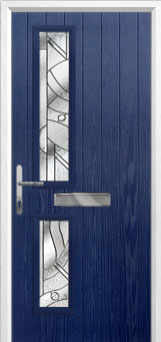 Twin Square Abstract Composite Front Door in Blue
