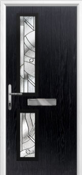 Twin Square Abstract Composite Front Door in Black