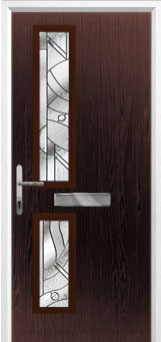 Twin Square Abstract Composite Front Door in Darkwood