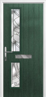 Twin Square Abstract Composite Front Door in Green