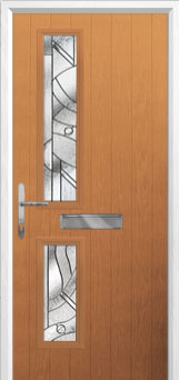 Twin Square Abstract Composite Front Door in Oak