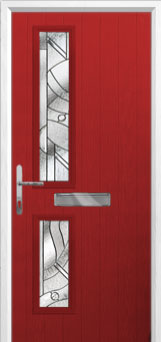 Twin Square Abstract Composite Front Door in Red