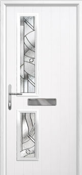 Twin Square Abstract Composite Front Door in White