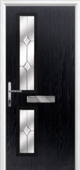 Twin Square Classic Composite Front Door in Black