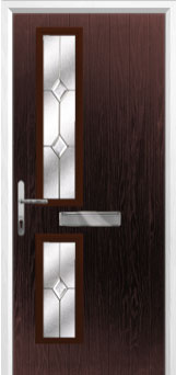 Twin Square Classic Composite Front Door in Darkwood