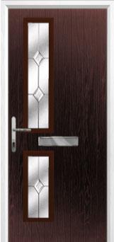 Twin Square Classic Composite Front Door in Darkwood