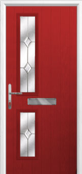 Twin Square Classic Composite Front Door in Red