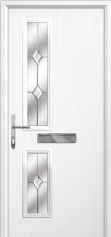 Twin Square Classic Composite Front Door in White