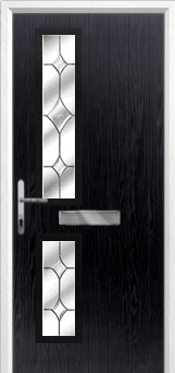 Twin Square Crystal Diamond Composite Front Door in Black