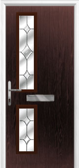 Twin Square Crystal Diamond Composite Front Door in Darkwood