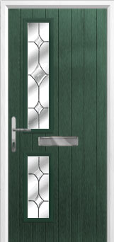 Twin Square Crystal Diamond Composite Front Door in Green