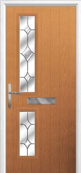 Twin Square Crystal Diamond Composite Front Door in Oak