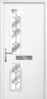 Twin Square Crystal Diamond Composite Front Door in White